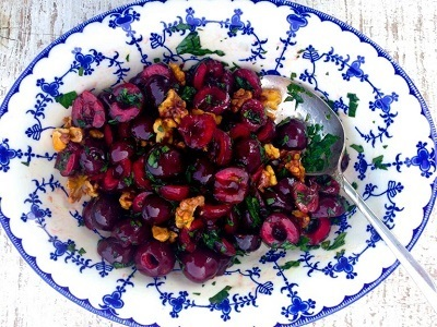 Cherries Vinaigrette With Walnuts, Parsley And Pomegranate